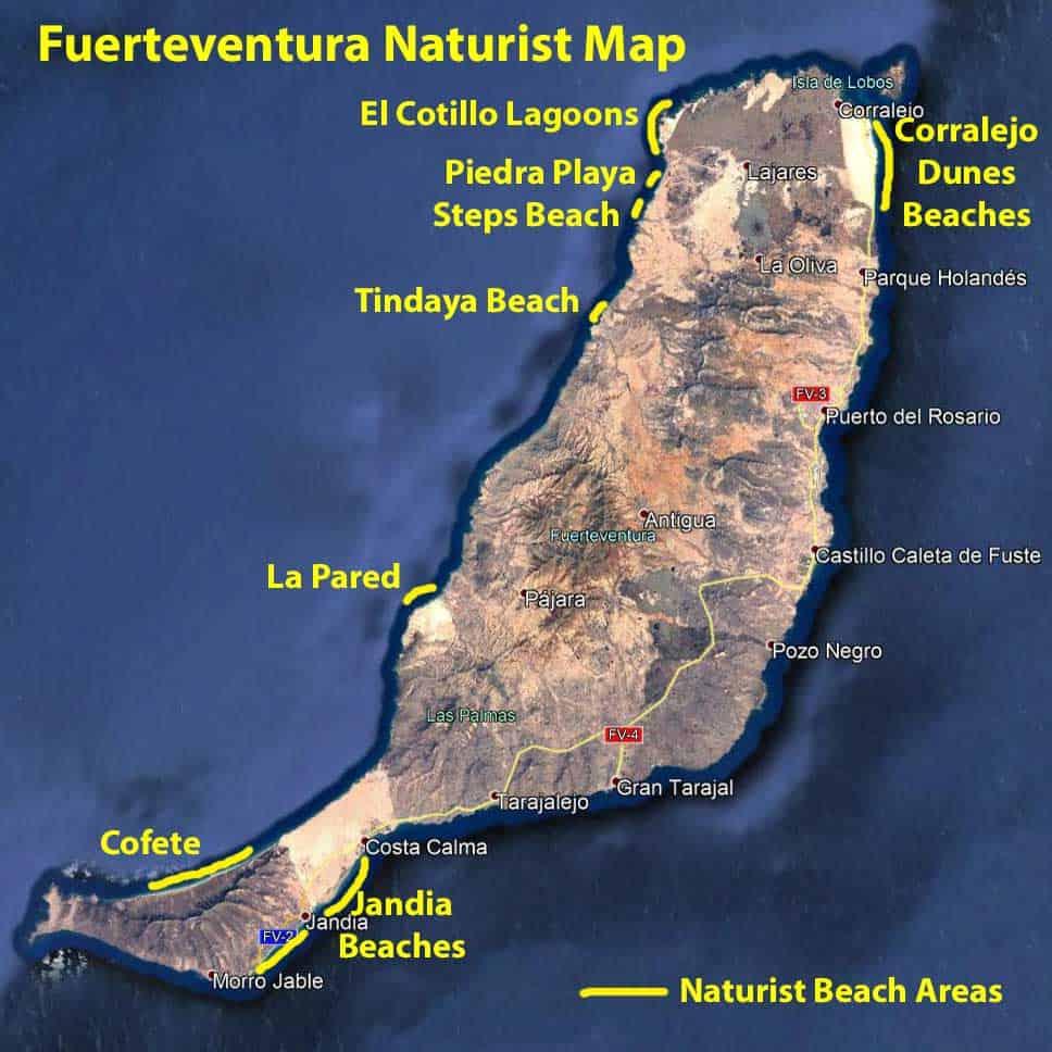 Fuerteventura naturist map. Map of the naturist beaches in Fuerteventura.